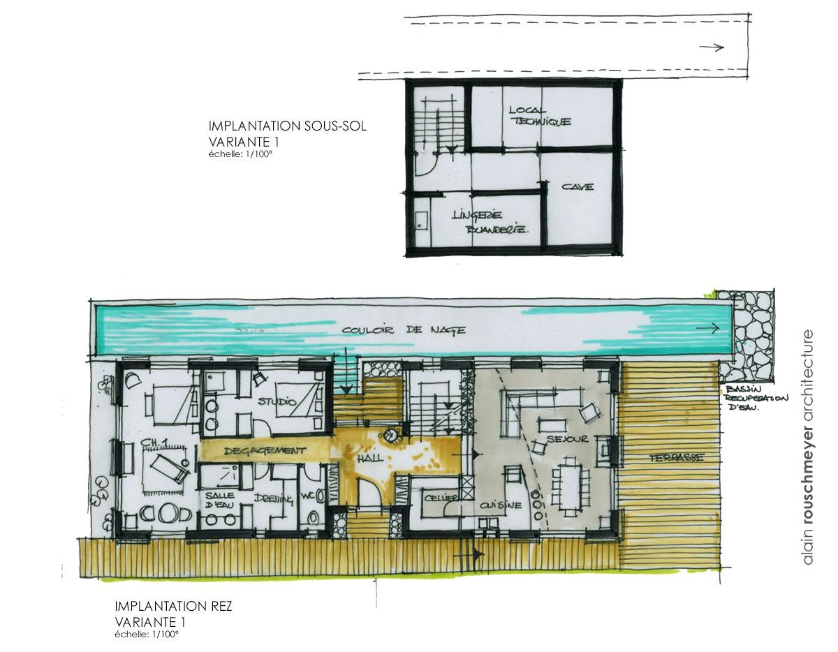 maison toute en longueur avec couloir de nage. Black Bedroom Furniture Sets. Home Design Ideas