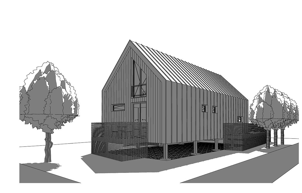 Maison individuelle sur pilotis avec habitation et atelier - Taxe habitation construction neuve ...
